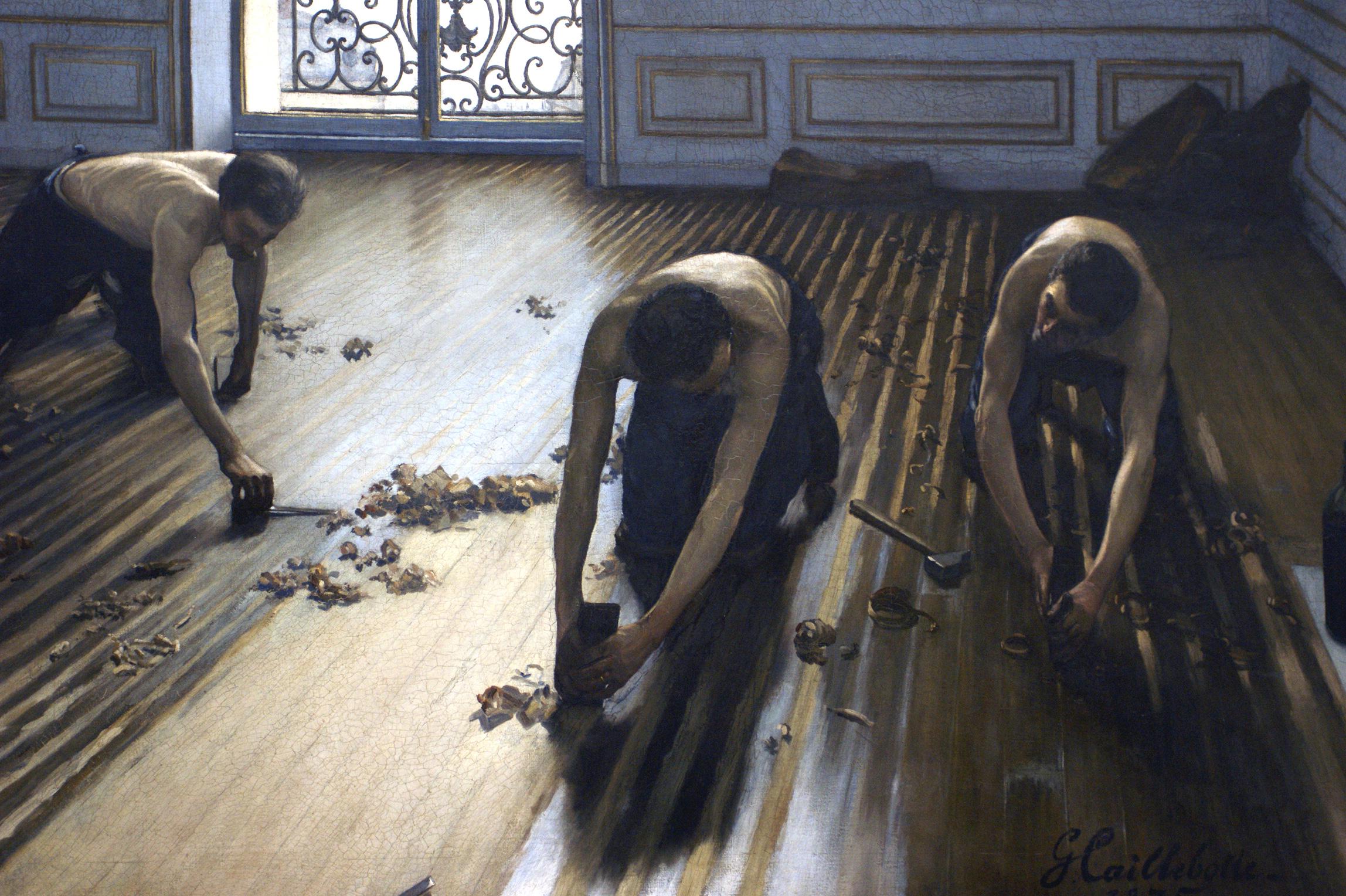 """Das impressionistische Werk """"Die Parkettabzieher"""" vom Künstler Gustave Caillebotte kannst du dir passend zu deinem neuen Boden auf posterlounge.de bestellen ;-)"""